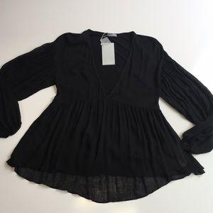 Zara Black Sheer Flowing Blouse